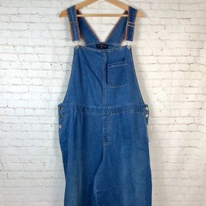 Eloquii Cropped Denim Bib Overalls Plus Size 18